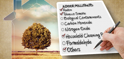Hand writing list of possible indoor air contaminants